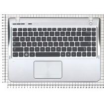 Клавиатура для ноутбука Samsung SF310 топ-панель серебристая кнопки черные