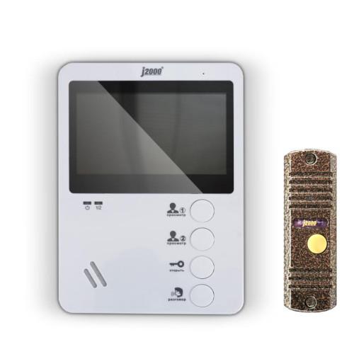 """Комплект видеодомофона с вызывной панелью J2000 4,3""""-1 (медь)"""